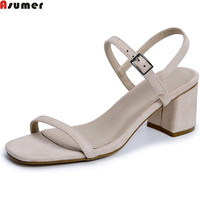 ASUMER Fashion Summer Ladies Shoes Buckle Casual Shoes Woman Square Heel Elegant Women Suede Leather High