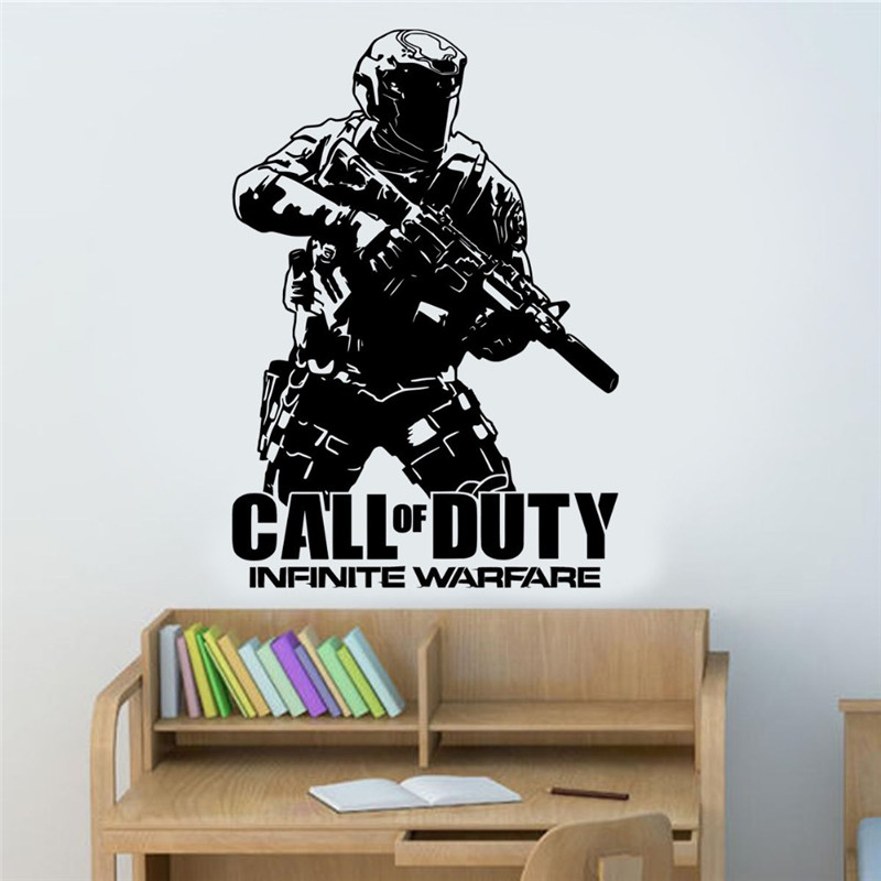 Removable Wall Decal Army Call of duty Infinite Warfare WARFIGHTER ps4 Gamer Vinyl Sticker wall art Decor House Poster
