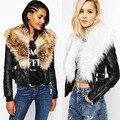 Las mujeres de LA PU de cuero de imitación de Las Mujeres chaqueta corta chaqueta de cuero de cuello de piel Italia Style Plus size Faux Fox Abrigo de Cuello