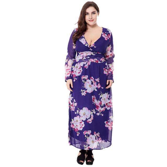 VITIANA 2017 Women Summer Beach Chiffon Clothing Long Sleeve Blue Print Loose Party Casual Dress Plus Size 5XL 6XL With Belt