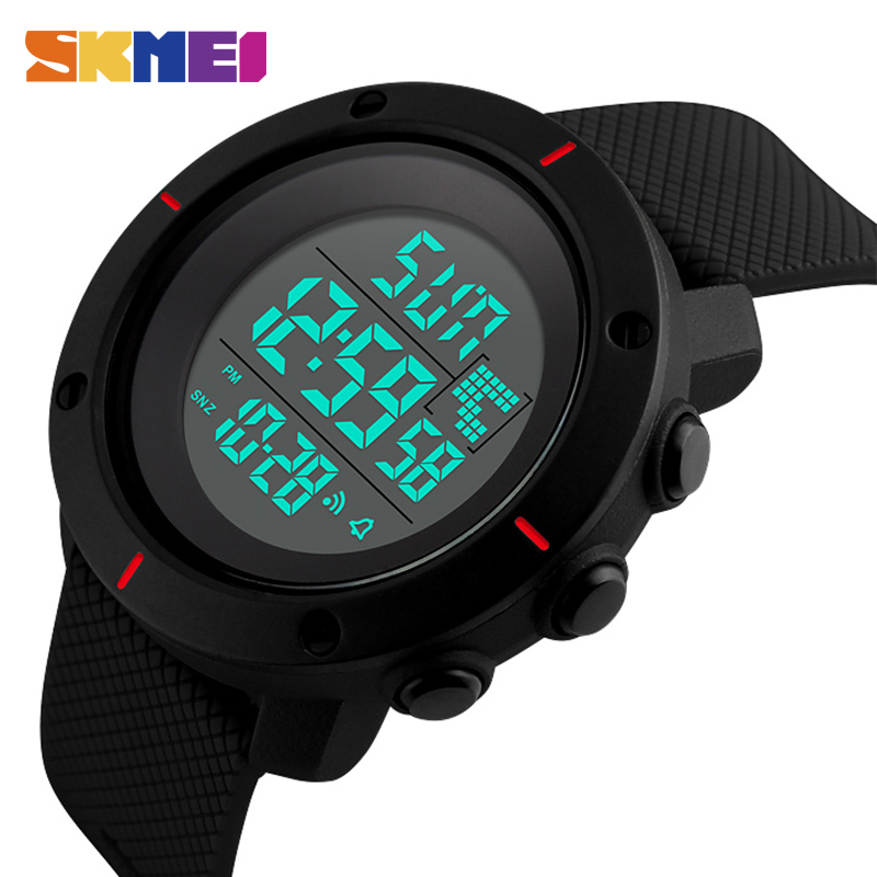 SKMEI Män Sport Watch Big Dial Digital Military Outdoor Armbandsur Back Light Chronograph Alarm 50M Vattentät Klockor 1213
