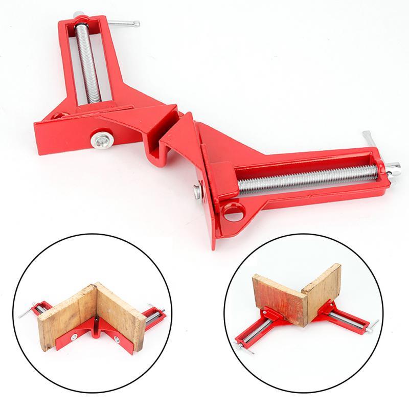 4 piezas de 4 pulgadas de 90 grados de ángulo recto Clip foto Marco de esquina para Mitre abrazaderas de esquina de madera mano herramienta