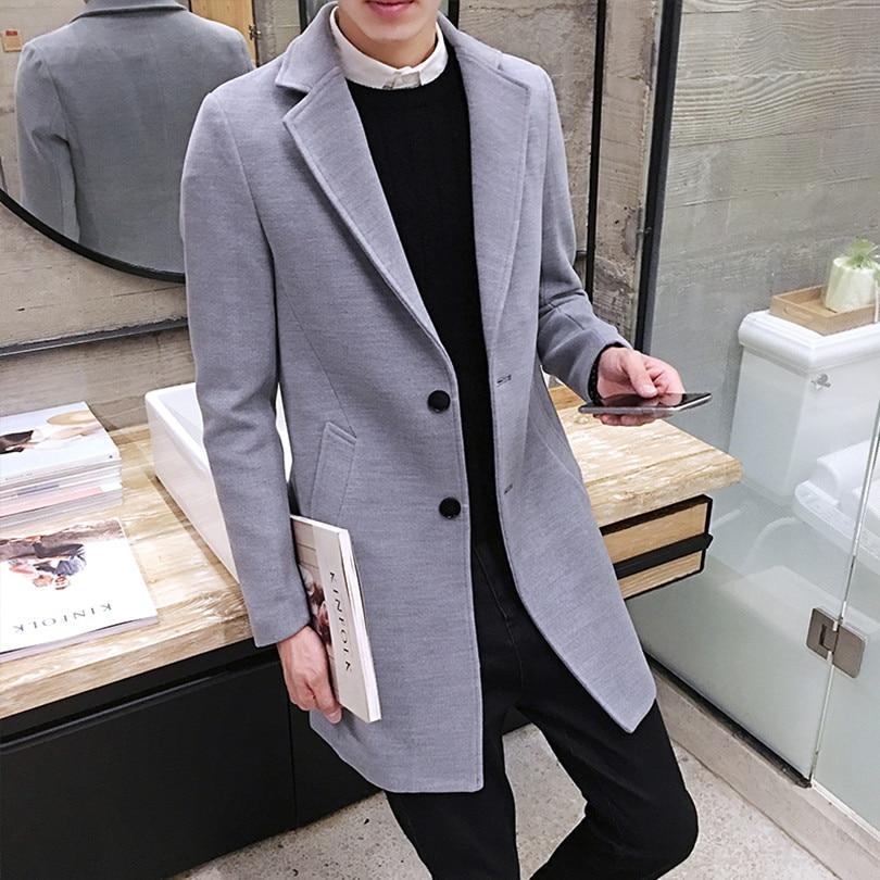 2017 Vinter män i långa täcker Slim Woolen Coat, England Style - Herrkläder - Foto 2