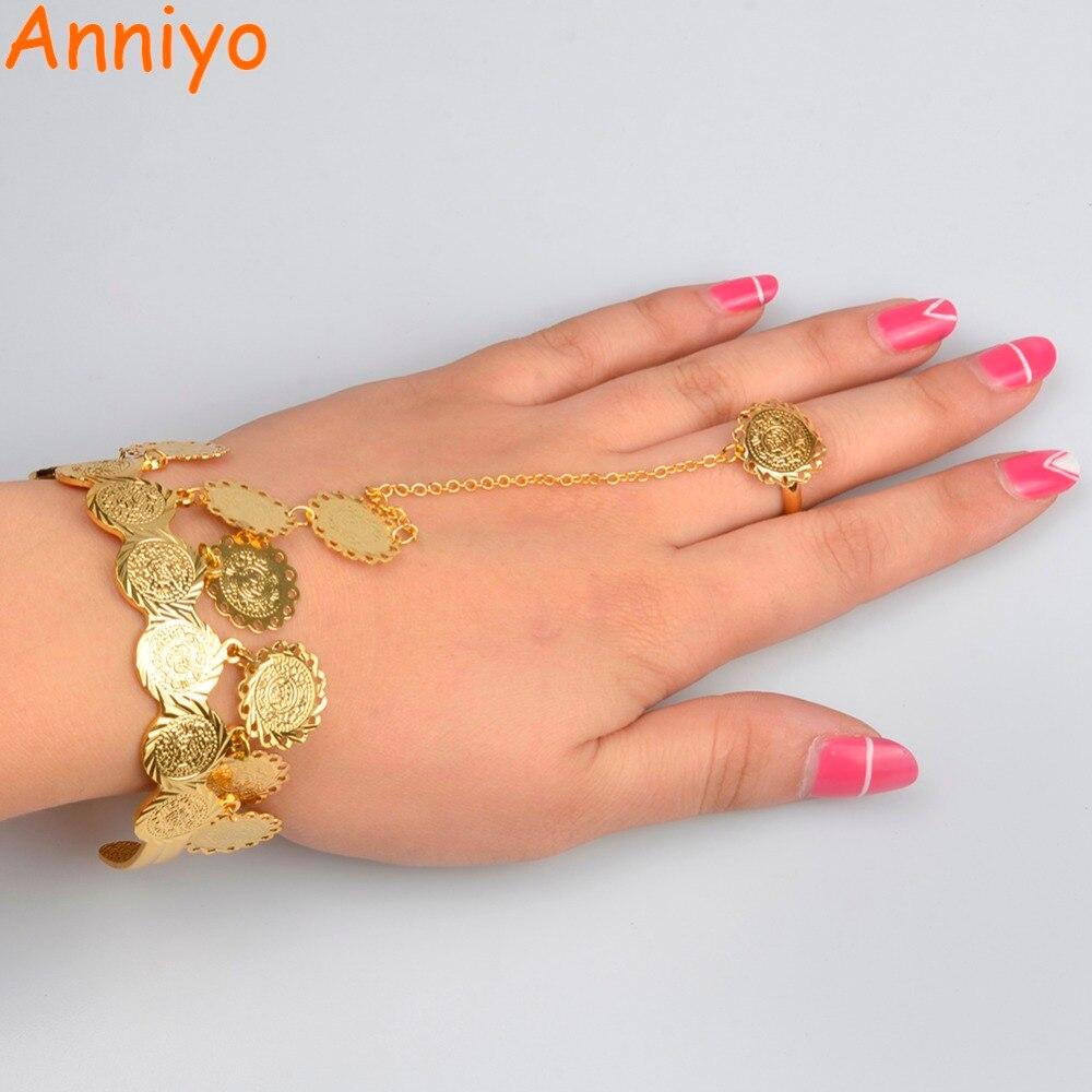 Anniyo Charme Pièces Bracelets pour Femmes Or Couleur Arabe Bracelet Moyen- Orient De Mariage Africain 10d6fbe2579