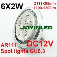 Free Shippng 12W LED AR111 G53 6 2W Spotlight Bulb Ultra Bright High Power 85 265V