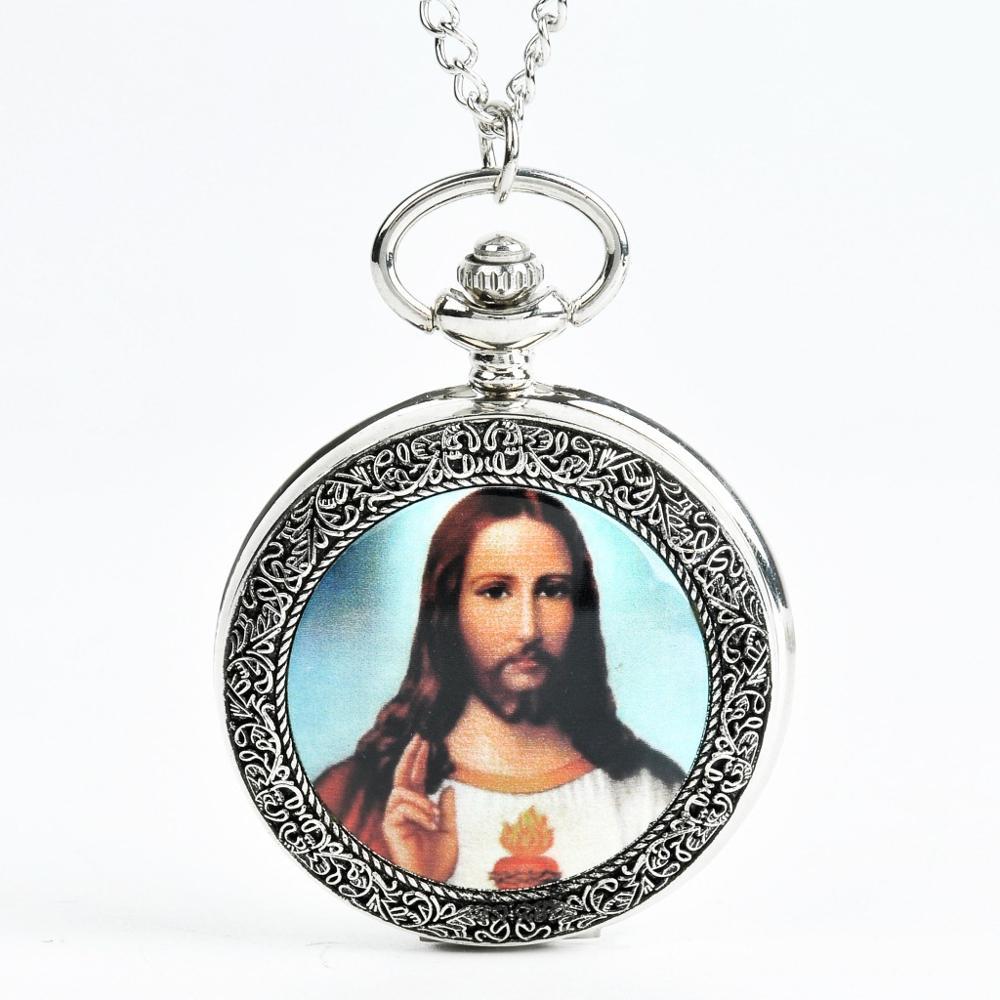 0 Silvery Retro Jesus Holing A Holy Bible Antique Pocket Watches Necklace Catholicism Religion Quartz Clock Chain Women Men Gift