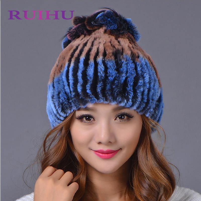 RUIHU 2018 Women Warm Fur Hats with Ear Protect Genuine Rex Rabbit Fur Bomber Hats Silver Fox Fur Top for Russian Winter Hat