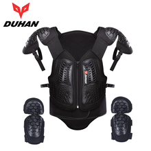 DUHAN Motorcross Off-Road Racing Body Armor Waistcoat Motorcycle Riding Protection Jacket Vest Chest Protective Gear Elbow Pads
