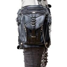 New Black Bag Pu Leather Motorcycle Bag Female Fashion Riding Leg Bag Cool Multi-function Travel Outdoor Girls Leather Handbag