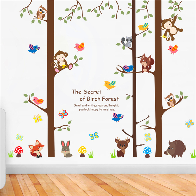 Charmant The Secret Of Birch Forest Wall Stickers For Kids Rooms Decor Cartoon Owl  Monkey Animal Wall