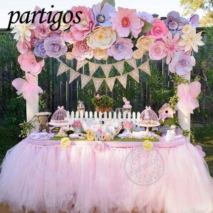 2 m * 0.8 m TUTU Table jupe vaisselle Tulle à la main personnaliser mariage bébé douche fête d'anniversaire décor toile de fond maison fête Supplie