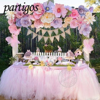 2m*0.8m TUTU Table Skirt Tableware Tulle Handmade Customize Wedding Baby Shower Birthday Party Decor Backdrop Home Party Supplie