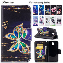 Butterfly Wallet Flip Case for Samsung Galaxy S7 Edge S8 S9 Plus S10E A6 A7 2018 A3 A5 J7 J5 J3 2017 J330 J530 J730 Cover B116(China)