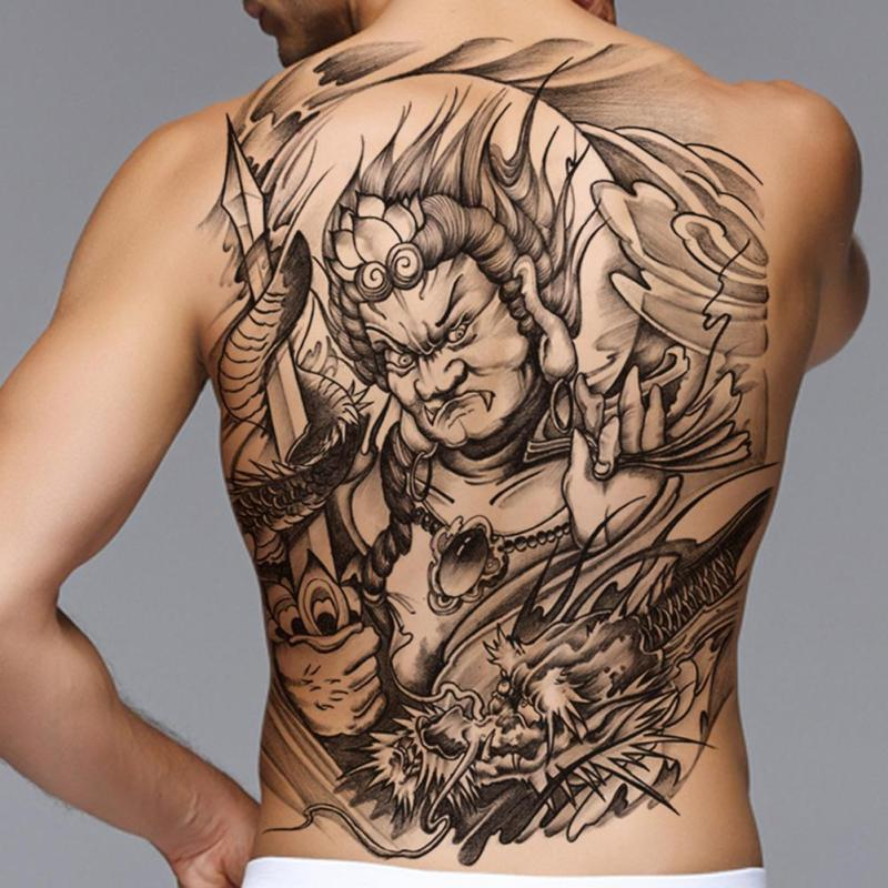Large Black Carp Tattoos Men & Women Waterproof Big Temporary Tattoo 3