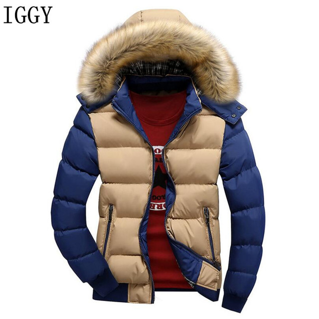6fcc092a8ee Hooded Winter Jacket Men European Style Casual Slim Stand Collar Patchwork  Thick 4XL Mens Winter Jackets Parkas Coats 14 Color