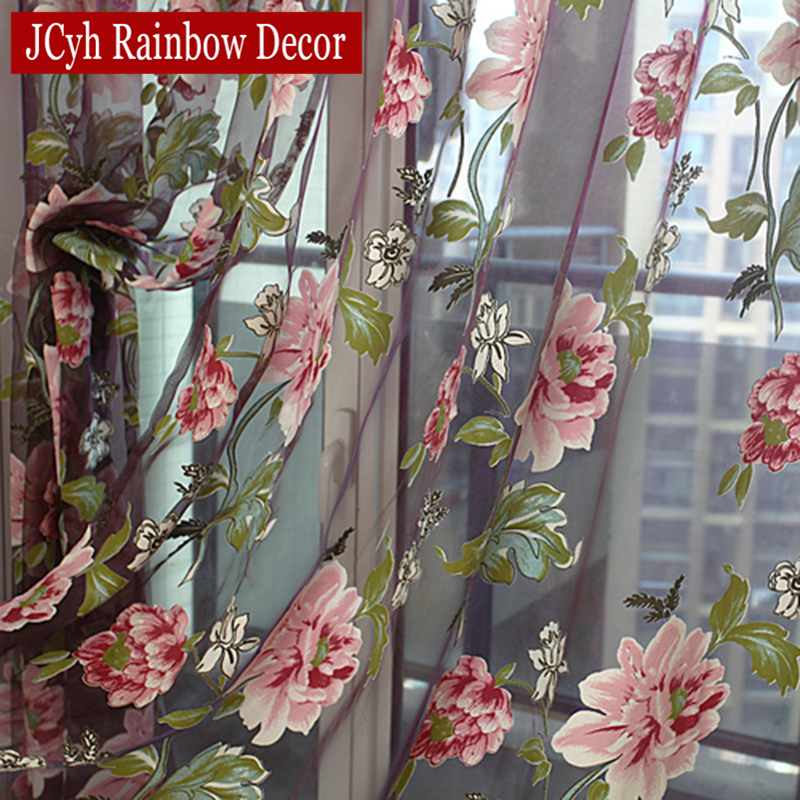 Floral Home Fabric Sheer Tulle Gardiner For Stue Barn Barn Soverom Kjøkken Dør Gardiner For Vindu Svart Cortinas D