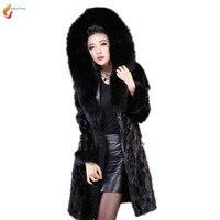 2017 зима новый High-End женщин с капюшоном пальто с мехом элегантные модные тонкие Большие размеры женские черный мех пальто G145 jqnzhnl