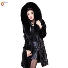 2017 Inverno nova high-end mulheres engrosse com capuz casaco de pele elegante moda Slim tamanho grande das mulheres Casaco de pele preto G145 JQNZHNL