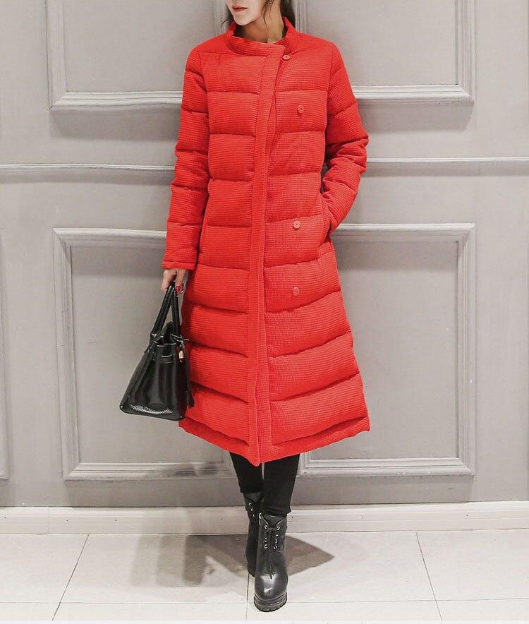 Longues Long Grand Moyen longueur à Loisirs Hiver Veste Manteau Nouveau taille Manches Coton Black Solide Ses503 Femmes 2018 red Couleur qq8xBfP7