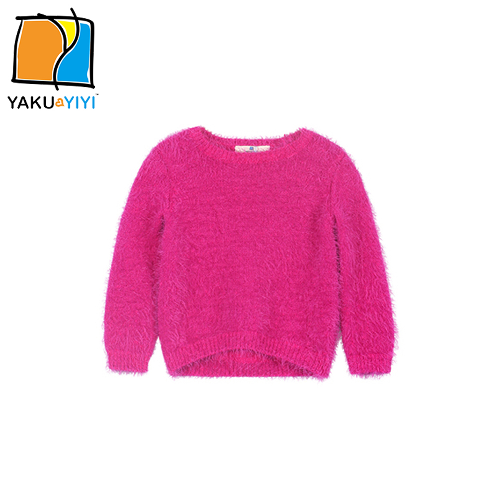 YKYY YAKUYIYI Rose Pink Girls Sweater Long Sleeve Baby Girls Pullover Tops Soft Hairy O-neck Children Sweater Girls Clothing