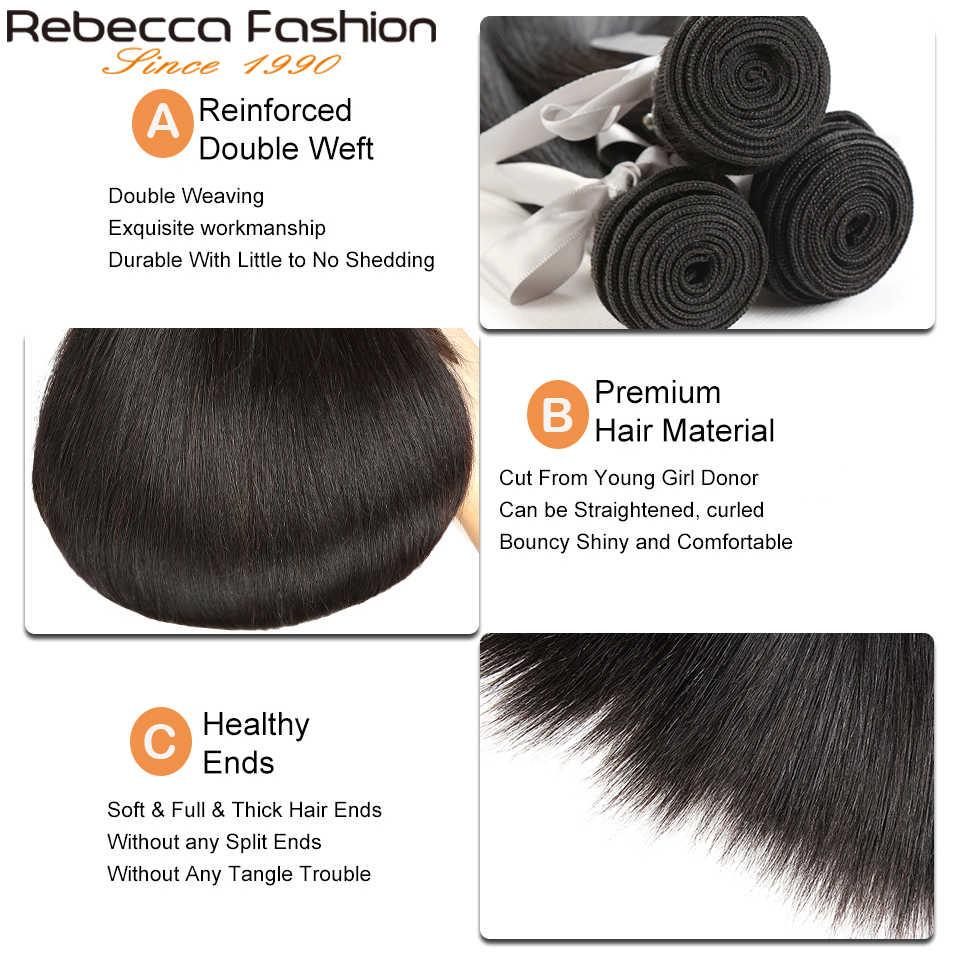 Rebecca прямые пучки волос с закрытием 3 пучка с закрытием шнурка remy волосы для наращивания 8 до 28 30 дюймов пучки с закрытием
