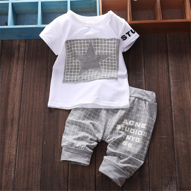 2017 New Kids Boys Summer Clothes Set Baby Boy Clothes Star Printed T-shirt + Pants Suit Clothing Sets Newborn Sport Suits