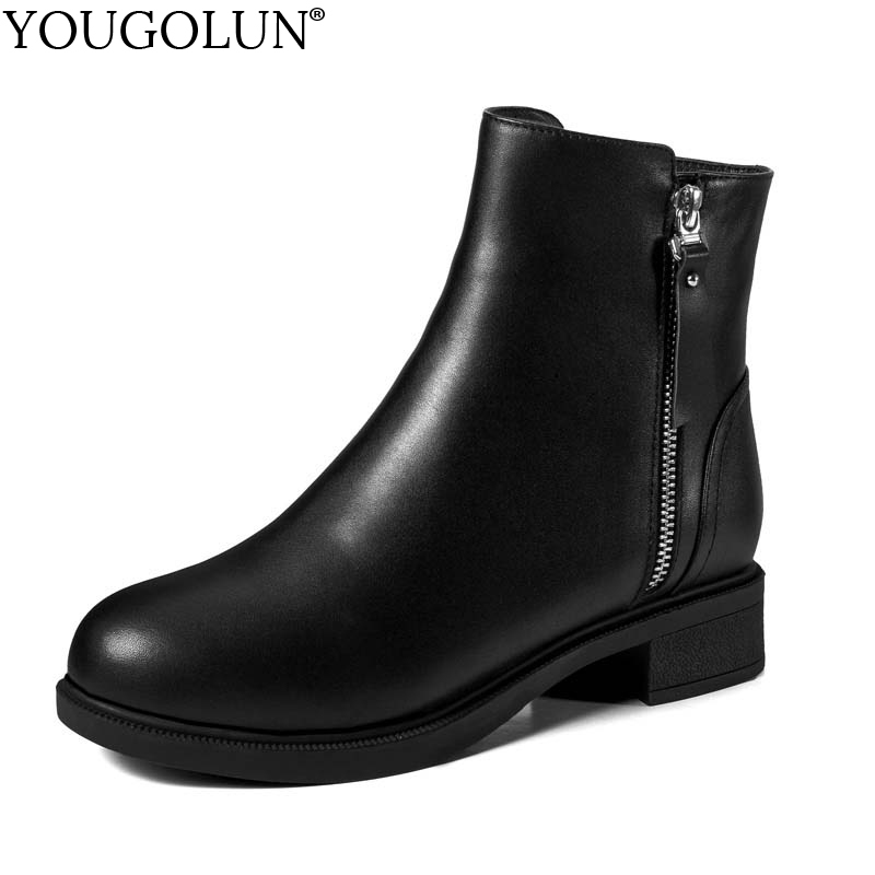 YOUGOLUN Women Ankle Boots Winter Genuine Cow Leather Low Heel 3.5 cm Square Heels Black Round Toe Zipper Fur Wool Shoes #Y-259 memunia fashion women boots round toe genuine leather boots zipper square heel wool keep warm cow leather mid calf boots