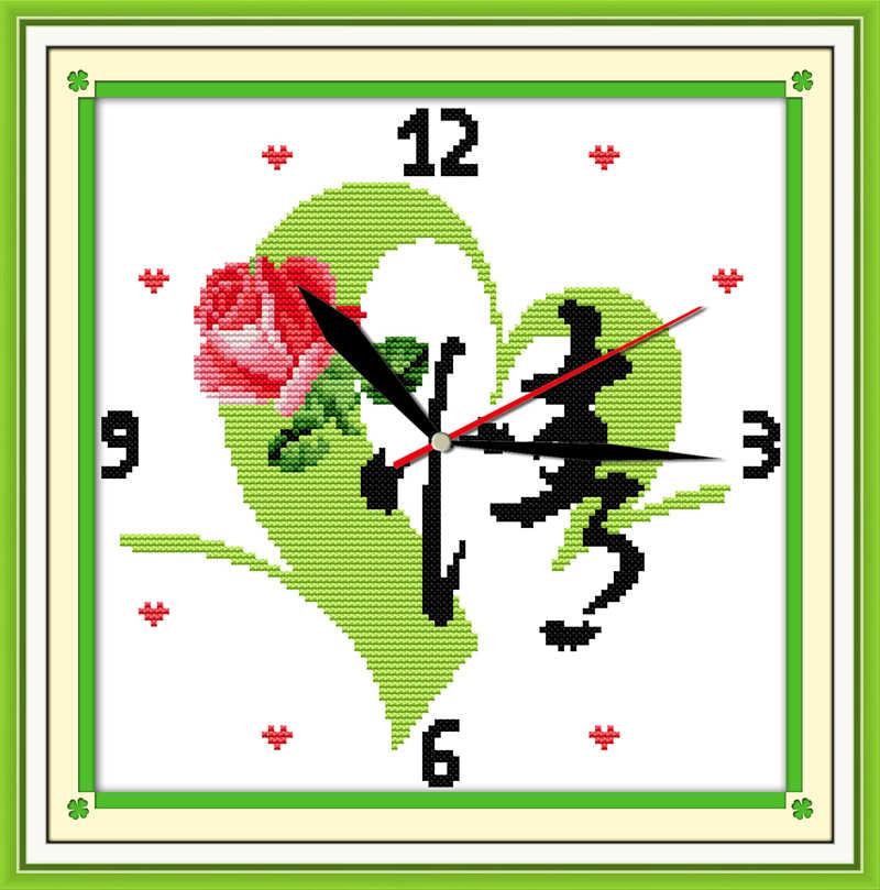 Kit de punto de cruz amor 14ct 11ct cuenta impresión lienzo pared reloj puntos bordado DIY hecho a mano costura plus