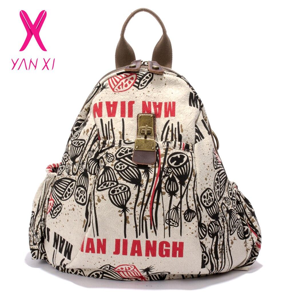 100% Wahr Yanxi Neue Winter Anlage & Charakter Rucksack Vintage Graffiti Frauen Rucksack Hohe Qualität Leinwand Große Kapazität Schul Weiblichen