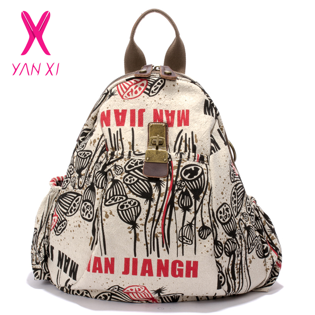 YANXI New Winter Plant&Character Backpack Vintage Graffiti Women Backpack High Quality Canvas Large Capacity Schoolbag Female baoyafang new arrival ladies shoes fashion pointed toe high heels pumps women office shoes 7cm heel sexy girls wedding shoes