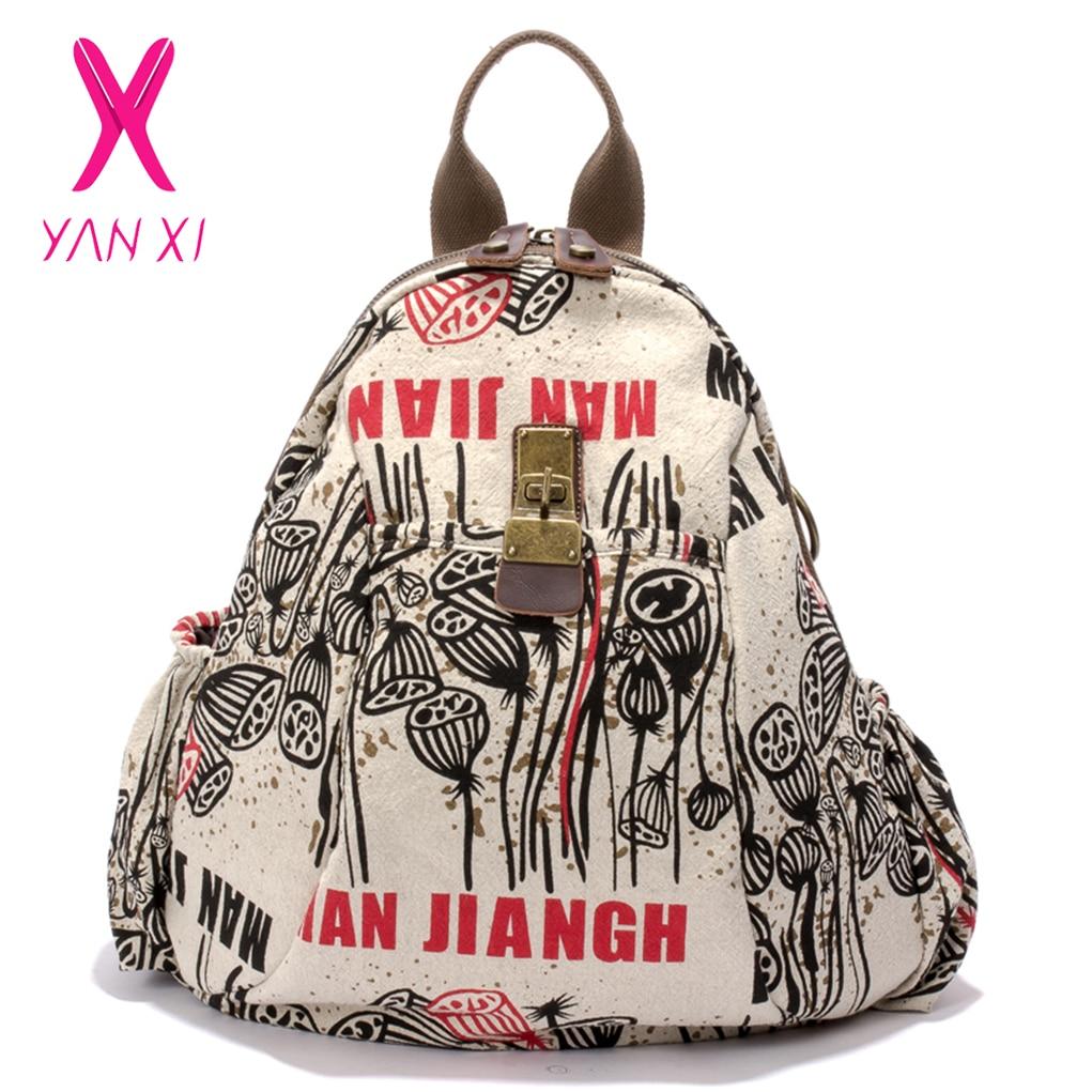 YANXI New Winter Plant&Character Backpack Vintage Graffiti Women Backpack High Quality Canvas Large Capacity Schoolbag Female туника трикотажная ромашки серо розовая