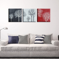 3pcs/Set Black White Red Tree Modern Abstract Hand painted Oil Paintings on Canvas Home Wall Art Decor No Frame