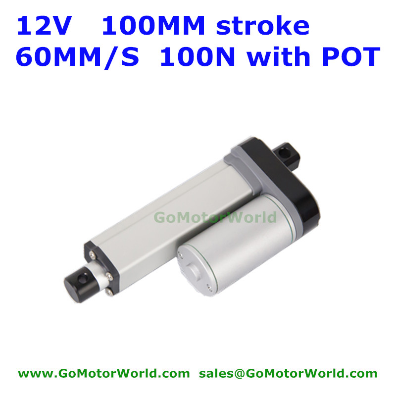 IP 65 12V 100mm stroke 60mm/s speed 100N 22Pounds load fast speed linear actuator with Potentiometer POT signal feedback stroke 600mm 12v 80mm s fast speed linear actuator tubular linear actuator 1pc