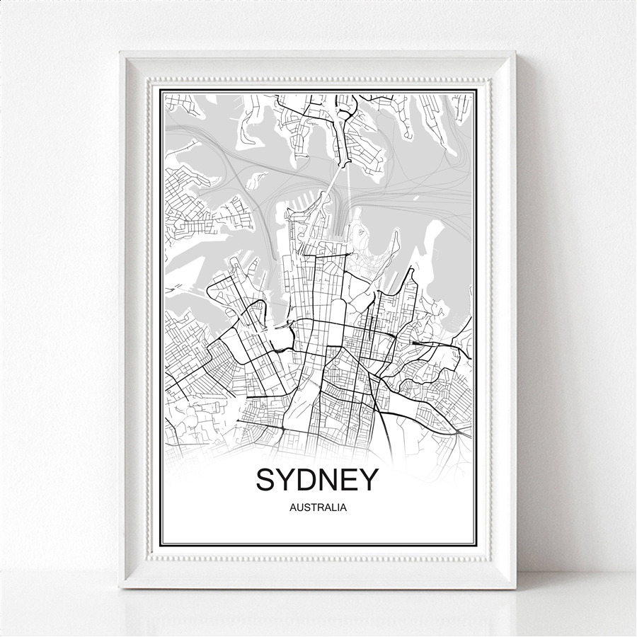 Sydney Australia World City Map Print Poster Abstract Coated Paper