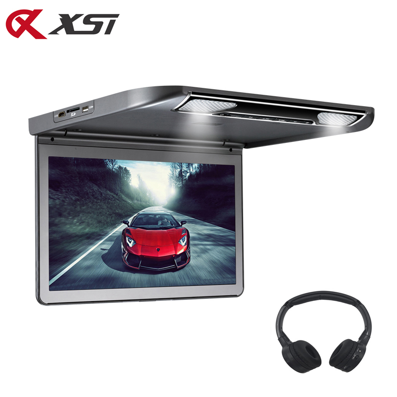 XST 13.3 Inch Car Ceiling Flip Down Roof Mount Monitor with Full 1920x1080 Screen MP5 Player With HDMI USB SD IR FM Transmitter-in Car Monitors from Automobiles & Motorcycles    1