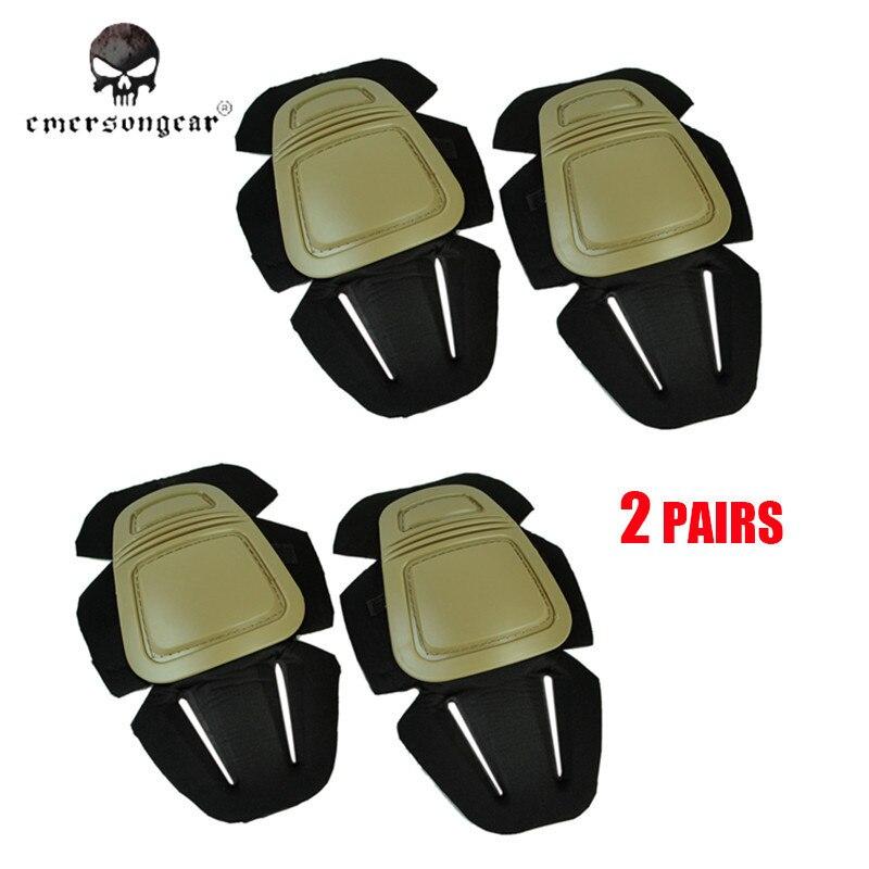 Prix pour 2 Paires Emerson G3 Protecteur Combat Genouillères Coude Chasse Military Gear Tactique Équipement Protecteur Coude Soutien Pad Tan/BK