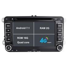 RAM 2G Android 7.1 Coches Reproductor de DVD con la Navegación del GPS para VW JETTA PASSAT B6 CC GOLF 5 6 POLO Touran Tiguan Caddy ASIENTO headunit