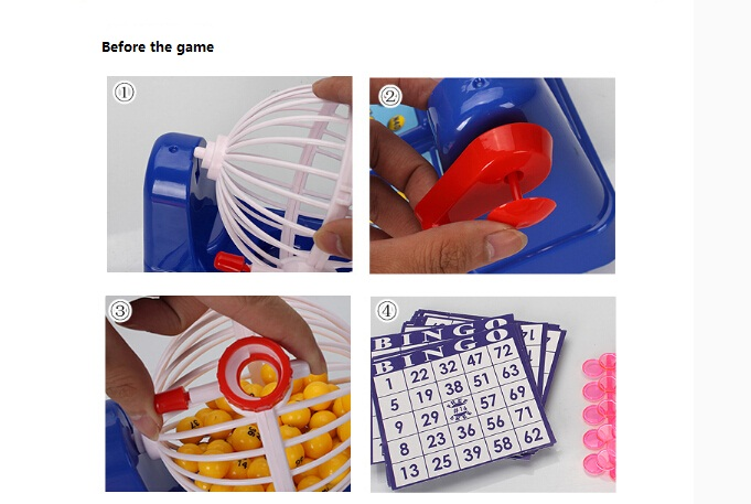box Bingo machine 25.5*21*15 cm Boxed board game Lottery machine & bingo ball set bingo game for kids family toy