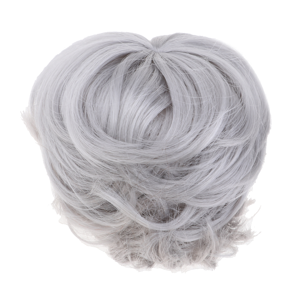 Popular Short Hairstyle Wig Hairpiece Doll Imitation Mohair Curly Wigs Hair For 1/6scale BJD/ Uncle Doll Silver Grey