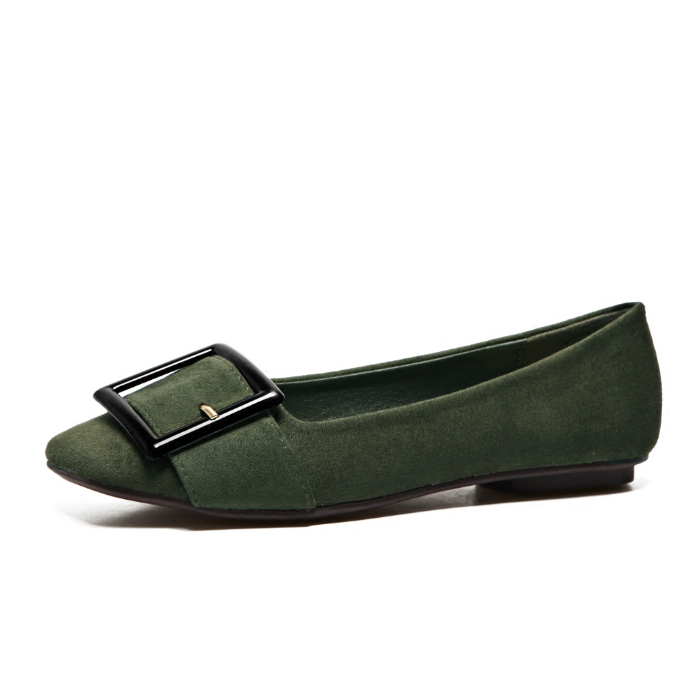 ФОТО 2017 Spring Shoes For Women New Square Head Flat Shoes Shallow Mouth Suede Metal Buckle Four Seasons Single Shoes Green Black