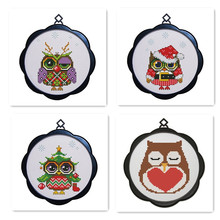 Owl Cartoon Cross Stitch Kit Hand Embroidery, Frame