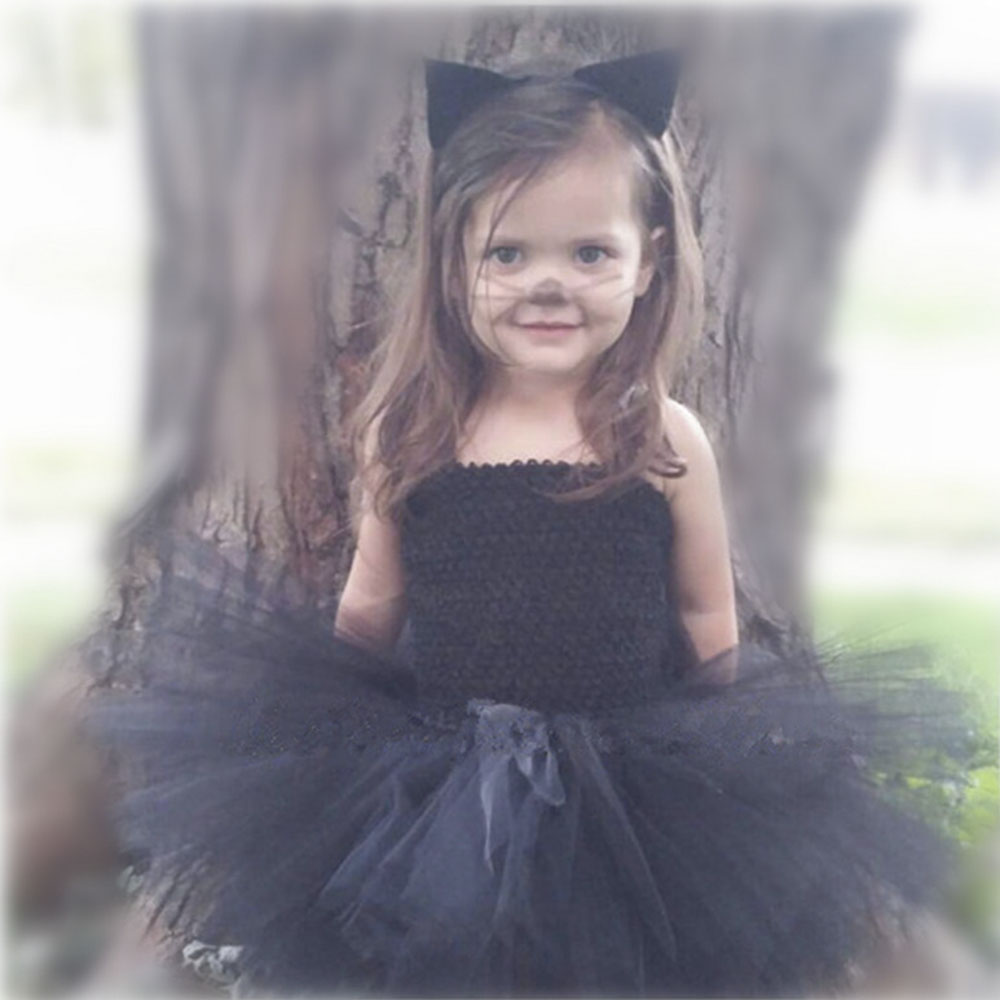 Adorable Girl Black Birthday Party Tutu Dress Children Knee Length Halloween Cat Cosplay Costume Ribbon Tulle Tutu Dresses 1-8 Y black rose ornament bracelet ring for halloween costume party black 5pcs