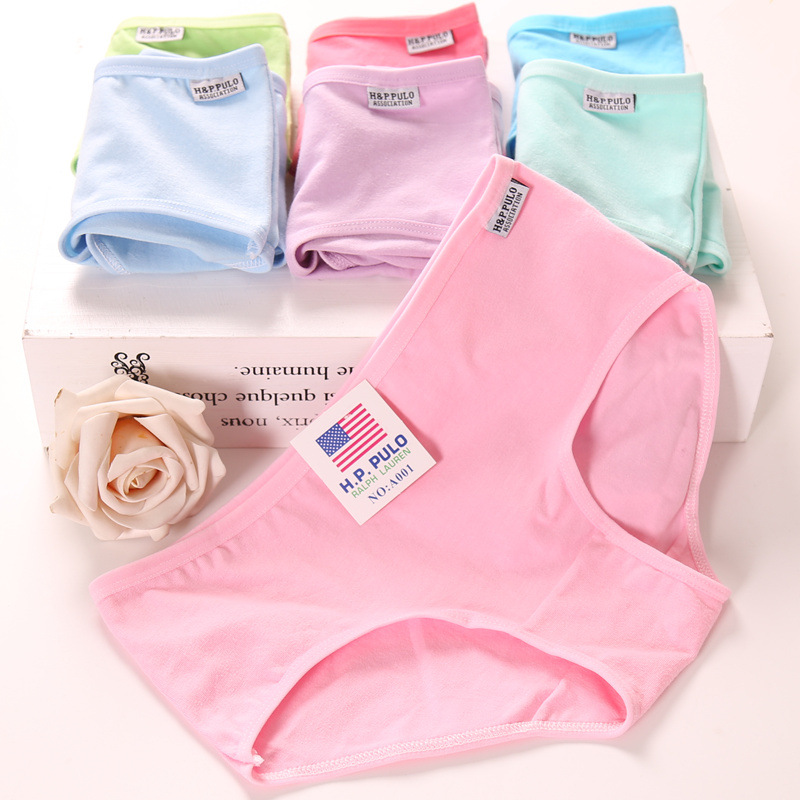 Hot sale cotton girls underwear solid low waist short briefs comfortable Antibacterial woman panties 100% brand new for 12-20Y