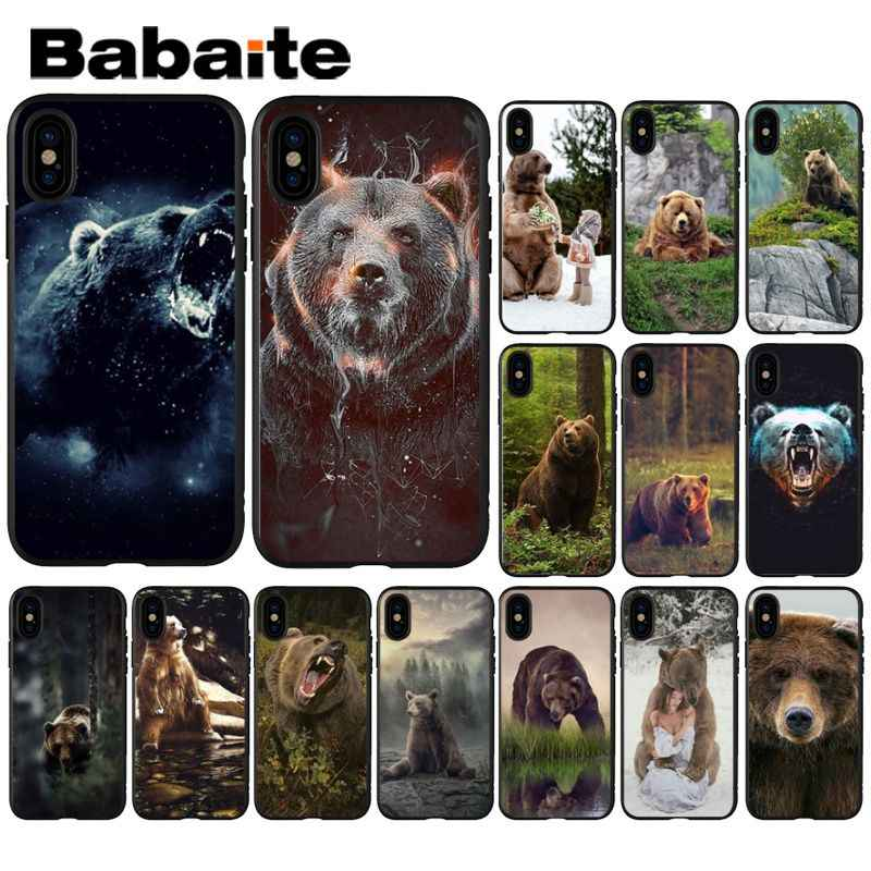 Babaite grizzly bear Novelty Fundas โทรศัพท์กรณีสำหรับ iphone ของ Apple iphone 8 7 6 6 S Plus X XS MAX 5 5 S SE XR ฝาครอบ