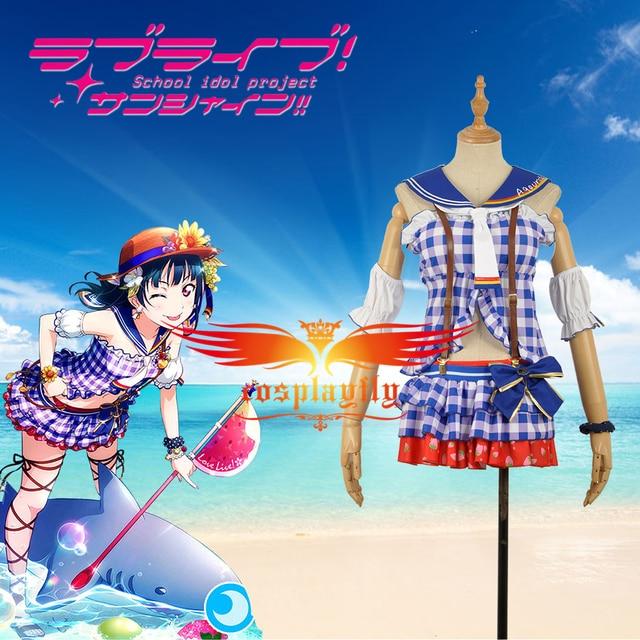 Lovelivesunshine aqours tsushima yoshiko sandy beach awakening aqours tsushima yoshiko sandy beach awakening dress cosplay costume women outfit clothing voltagebd Choice Image