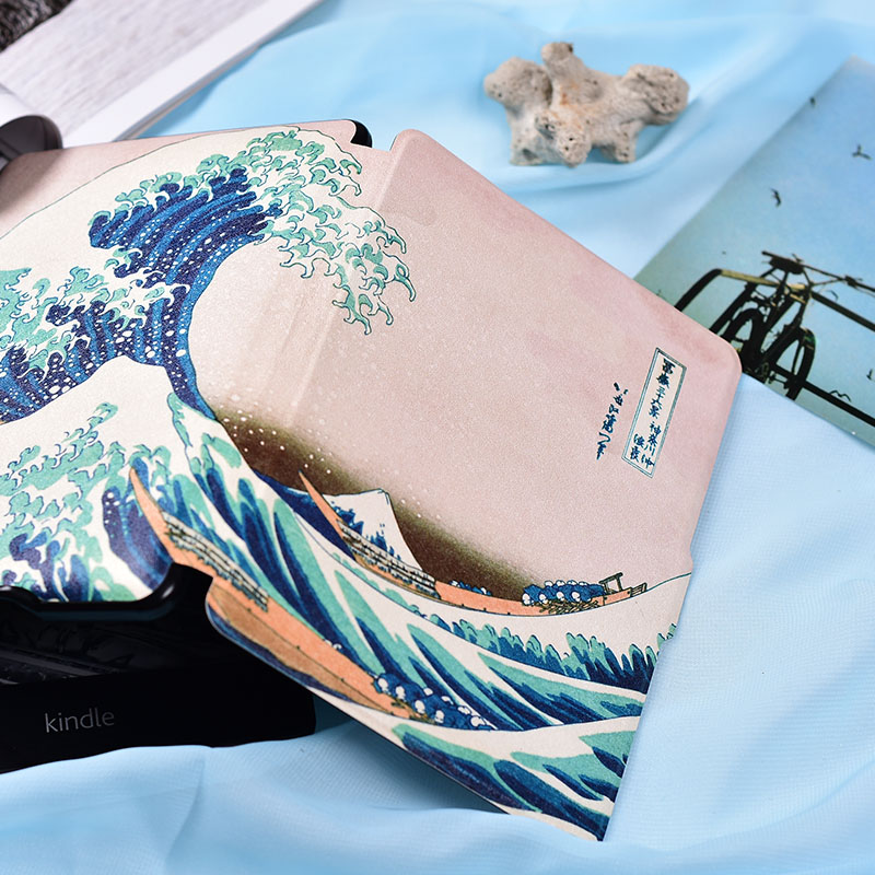 kandouren - Great Wave Case Cover for Kindle Paperwhite or Kindle voyage,smart case with auto sleep and wakeup function cartoon painted flower owl for kindle paperwhite 1 2 3 case flip bracket stand pu cover for amazon kindle paperwhite 1 2 3 case
