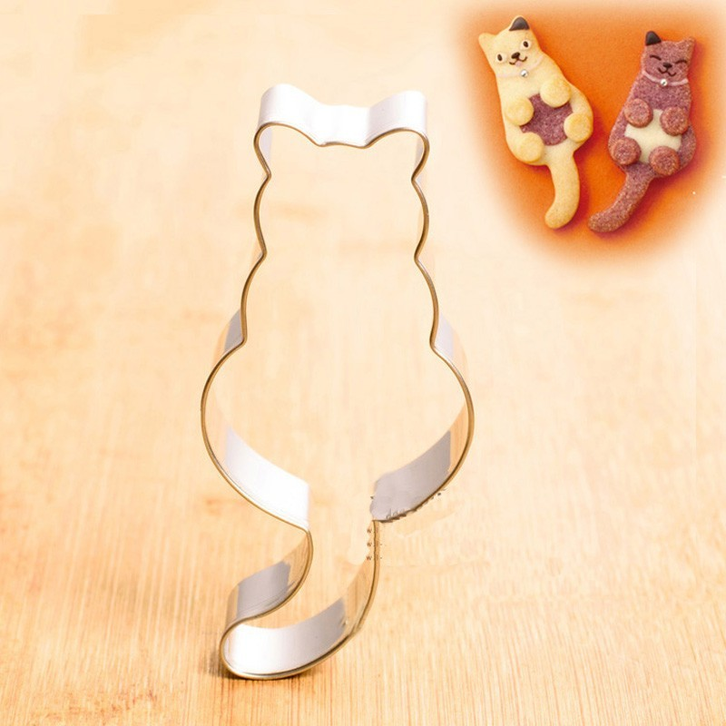 Long Tail Cute Cat Shape Cookie Cutter Cutter Bukë Mould Party Party Cookies Ditëlindja CA51