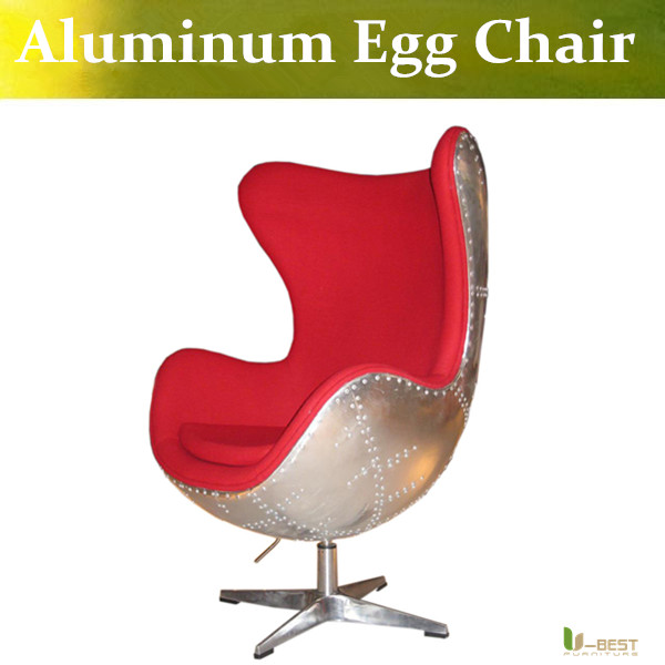U-BEST Aluminum egg chair ,fiberglass egg chair with fabric cushion and aluminum shell,High Quality Loft Style Egg Chair