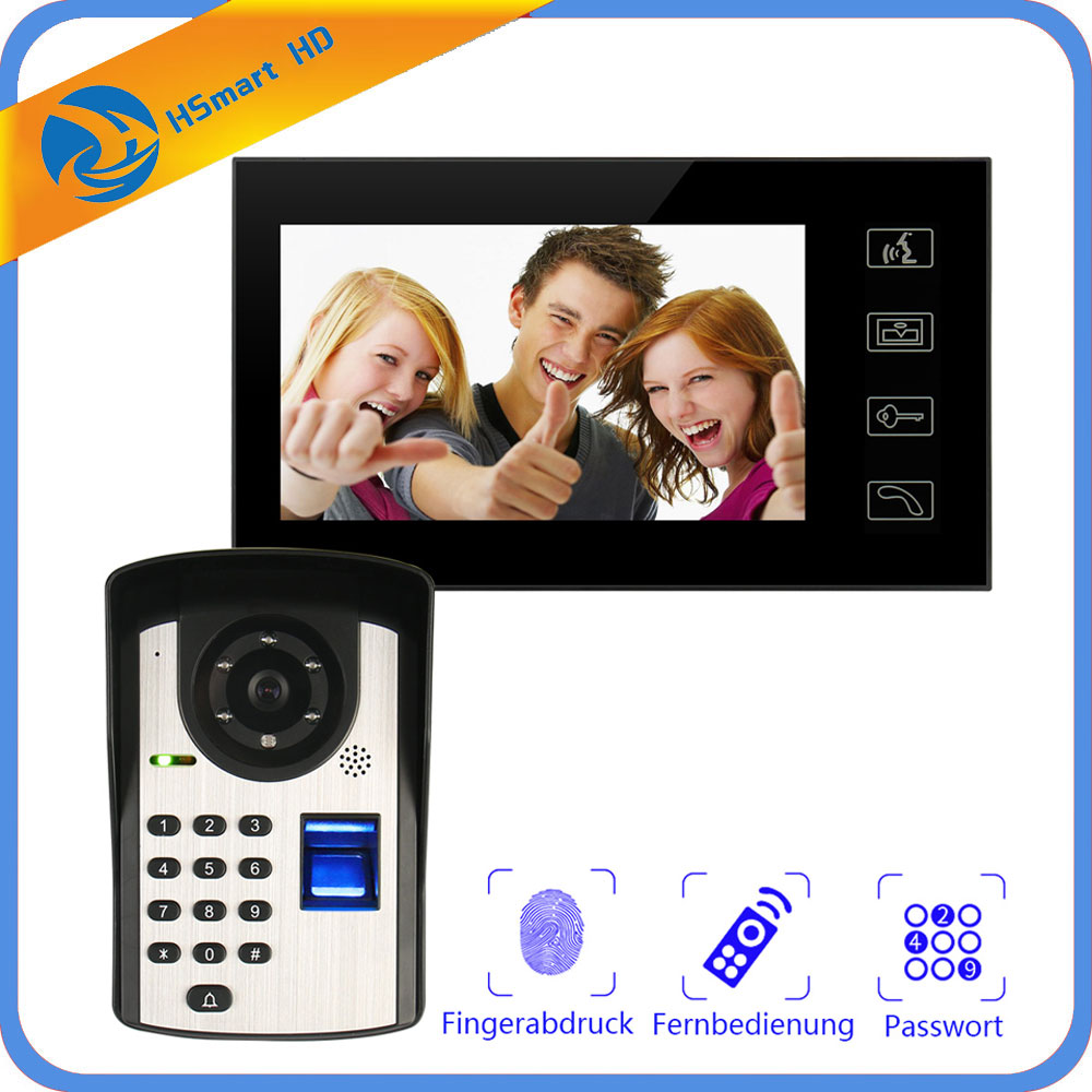 New 7inch Monitor Fingerprint password Keypad Code HD Camera Video Door Phone Doorbell Intercom System Wireless unlocks door wireless with monitor