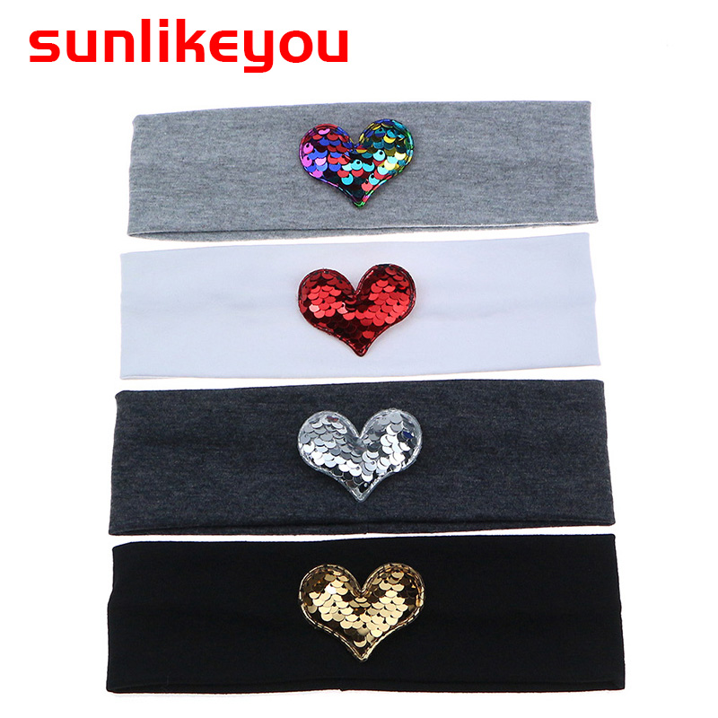Sunlikeyou New Arrival Newborn Headband Love Sequin Cotton Hair Band 2019 Summer Style Baby Headbands For Girls Hair Accessories